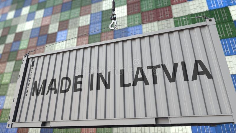 Грузовой контейнер с СДЕЛАННЫЙ В титре ЛАТВИИ Латышский перевод 3D импорта или экспорта родственный иллюстрация штока