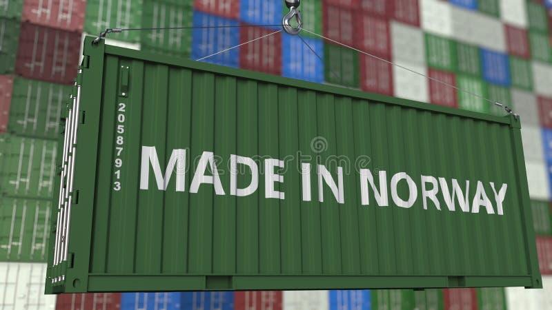 Грузовой контейнер с СДЕЛАННЫЙ В титре НОРВЕГИИ Норвежский перевод 3D импорта или экспорта родственный бесплатная иллюстрация
