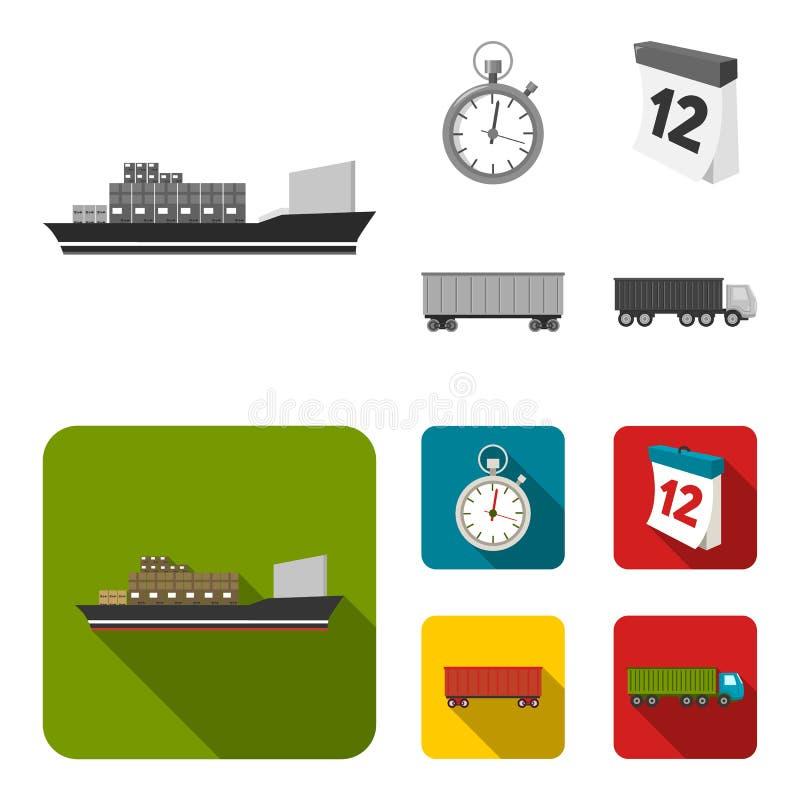 Грузовой корабль, секундомер, календарь, железнодорожный автомобиль Логистический, установите значки собрания в monochrome, плоск бесплатная иллюстрация