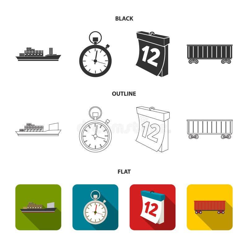 Грузовой корабль, секундомер, календарь, железнодорожный автомобиль Логистический, установите значки собрания в черной, плоский,  иллюстрация вектора