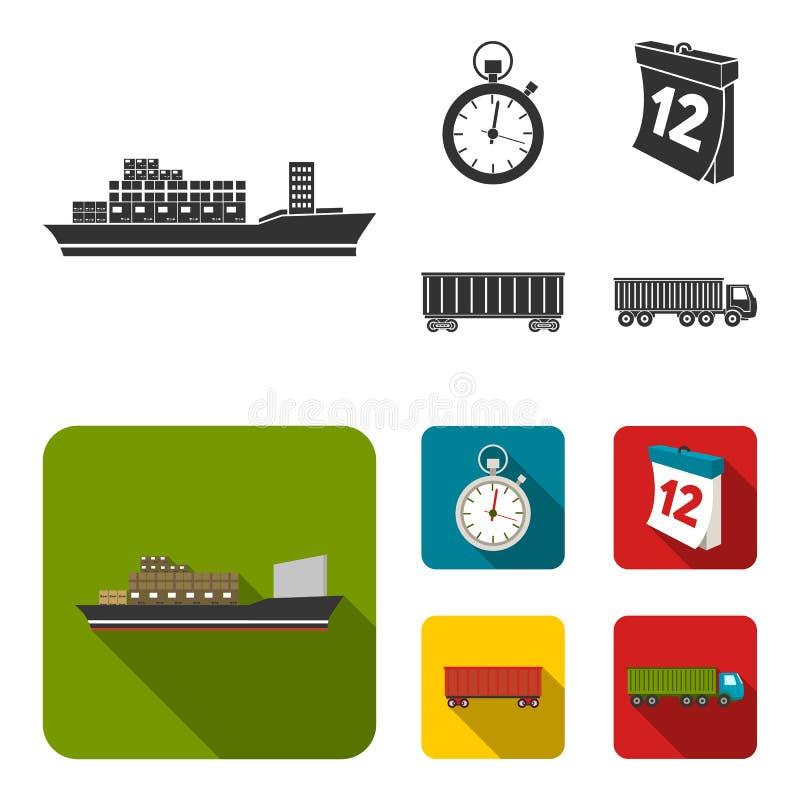 Грузовой корабль, секундомер, календарь, железнодорожный автомобиль Логистический, установите значки собрания в черном, плоском з бесплатная иллюстрация