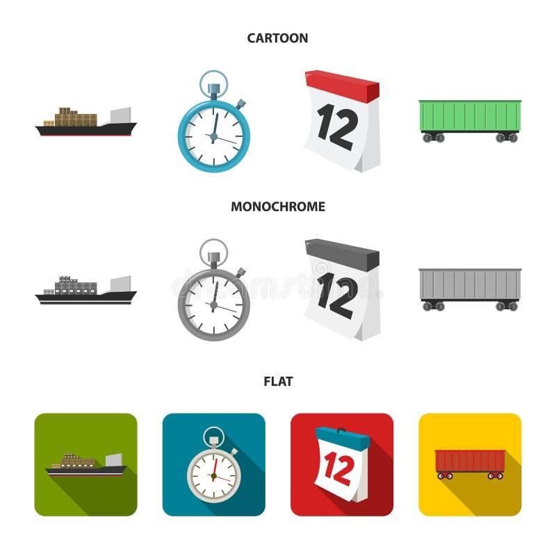 Грузовой корабль, секундомер, календарь, железнодорожный автомобиль Логистический, установите значки собрания в шарже, плоском, m иллюстрация вектора