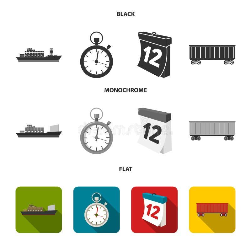 Грузовой корабль, секундомер, календарь, железнодорожный автомобиль Логистический, установите значки собрания в черном, плоском,  иллюстрация штока