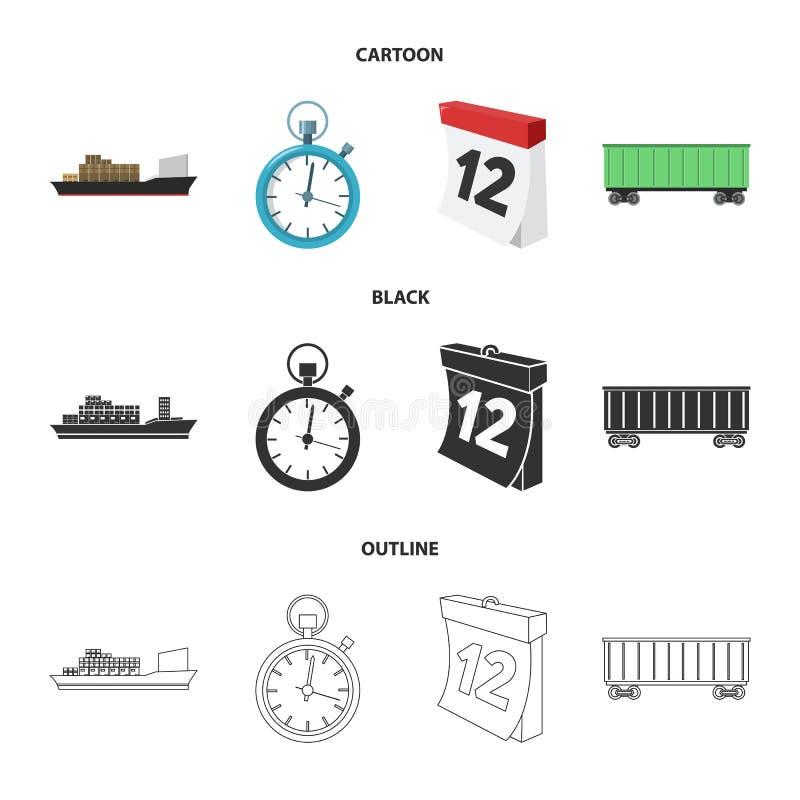 Грузовой корабль, секундомер, календарь, железнодорожный автомобиль Логистический, установите значки собрания в шарже, черноте, с иллюстрация вектора