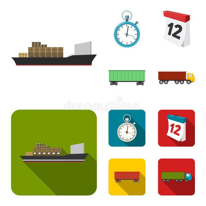Грузовой корабль, секундомер, календарь, железнодорожный автомобиль Логистический, установите значки собрания в шарже, плоском за бесплатная иллюстрация