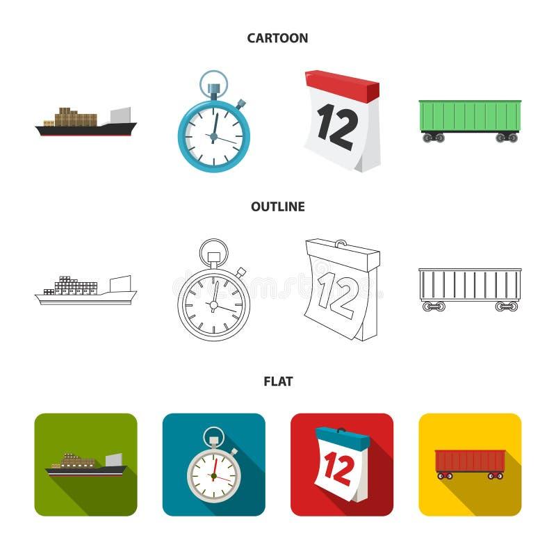 Грузовой корабль, секундомер, календарь, железнодорожный автомобиль Логистический, установите значки собрания в шарже, плане, пло иллюстрация вектора
