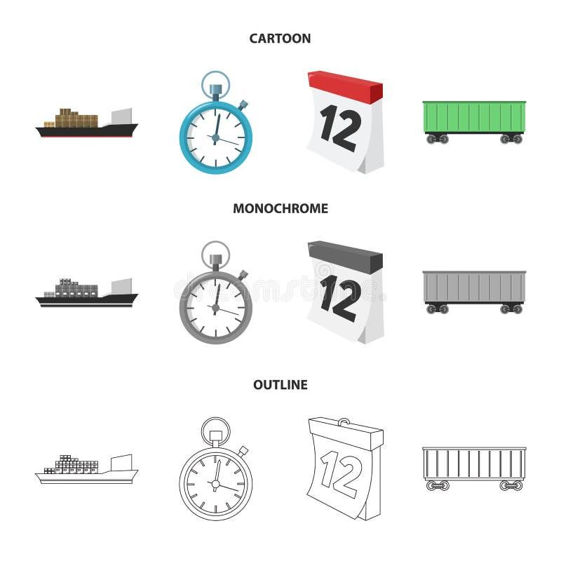 Грузовой корабль, секундомер, календарь, железнодорожный автомобиль Логистический, установите значки собрания в шарже, плане, mon бесплатная иллюстрация