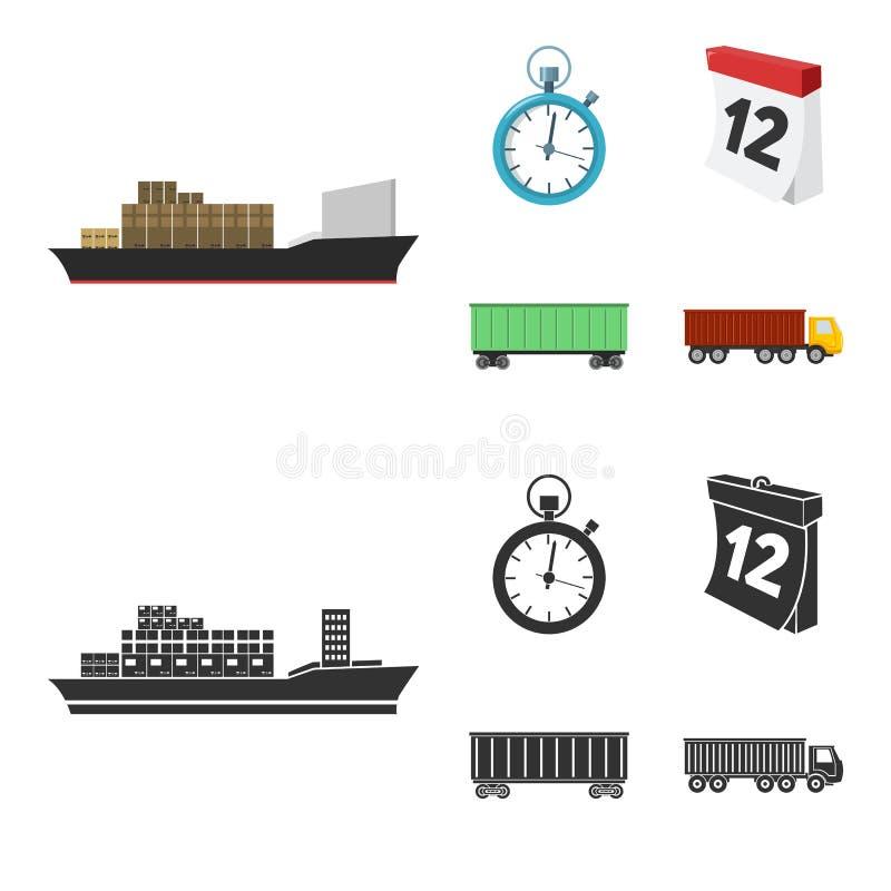 Грузовой корабль, секундомер, календарь, железнодорожный автомобиль Логистический, установите значки собрания в шарже, запасе сим иллюстрация вектора