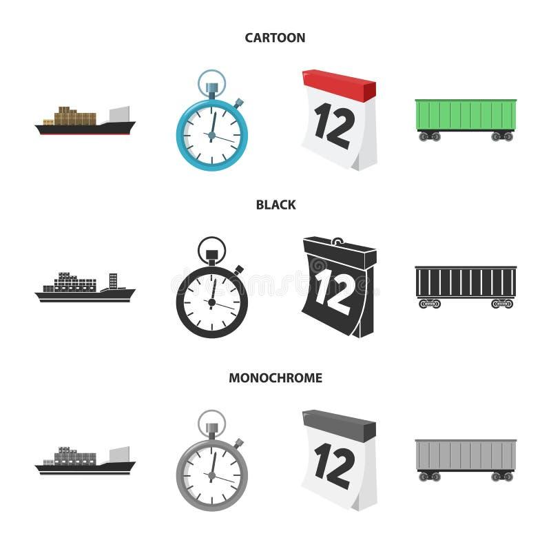 Грузовой корабль, секундомер, календарь, железнодорожный автомобиль Логистический, установите значки собрания в шарже, черноте, m иллюстрация штока
