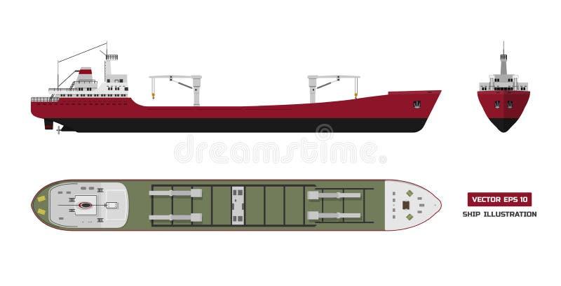 Грузовой корабль на белой предпосылке Верхняя часть, сторона и вид спереди Переход контейнера в плоском стиле иллюстрация вектора