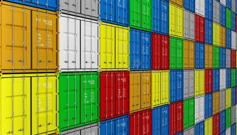 Грузовые контейнеры иллюстрации предпосылки 3d других цветов иллюстрация вектора