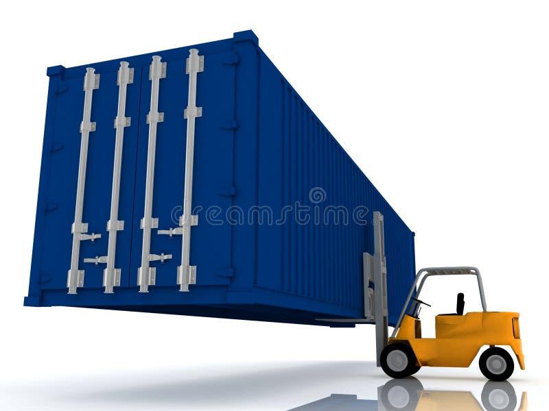 грузоподъемник контейнера поднимает затяжелитель иллюстрация штока