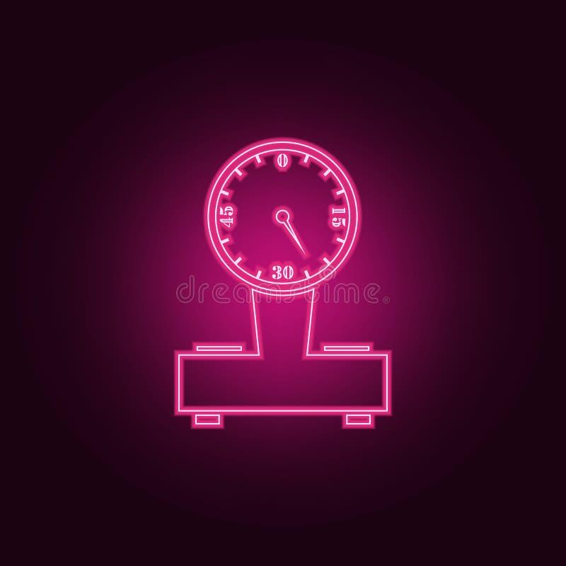 груз вычисляет по маcштабу значок Элементы измеряя элементов в неоновых значках стиля Простой значок для вебсайтов, веб-дизайн, м бесплатная иллюстрация