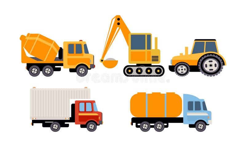 Груз, конструкция и специализированное машинное оборудование для транспорта, тележки конкретного смесителя, экскаватора, трактора иллюстрация штока