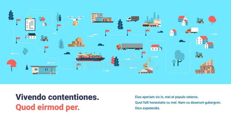 Груз трутня карты поставки снабжения различный перевозя корабли на грузовиках распределения морского транспорта доставки равновел бесплатная иллюстрация