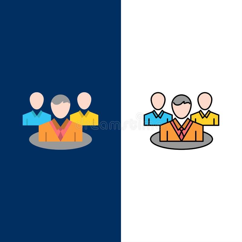 Группа, болтовня, сплетня, значки разговора Квартира и линия заполненный значок установили предпосылку вектора голубую бесплатная иллюстрация