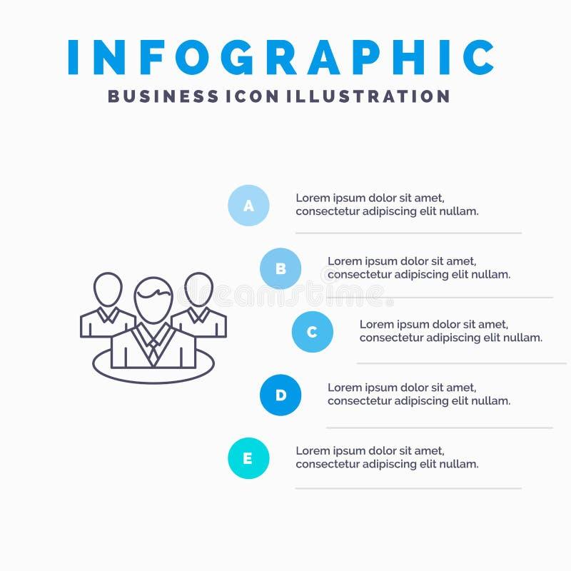 Группа, болтовня, сплетня, линия значок разговора с предпосылкой infographics представления 5 шагов бесплатная иллюстрация