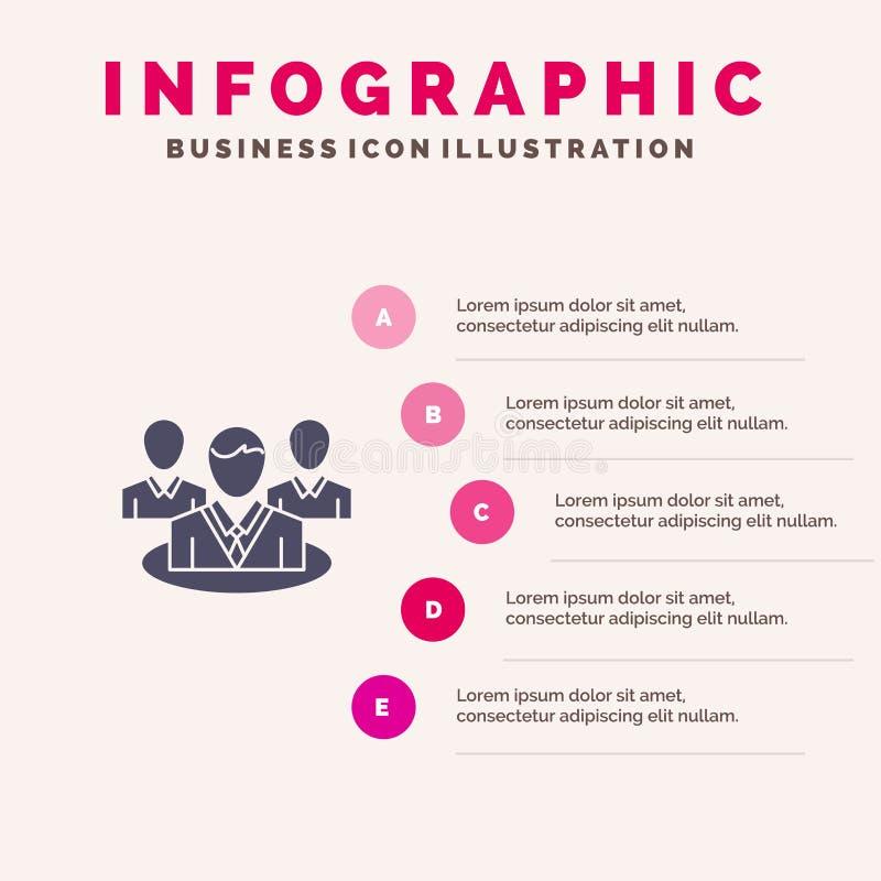 Группа, болтовня, сплетня, предпосылка представления шагов Infographics 5 значка разговора твердая иллюстрация вектора