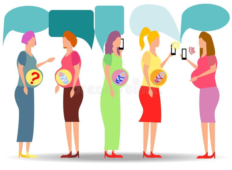 Группа в составе беременные женщины ища ответы в смартфонах доктор ответа вопроса онлайн иллюстрация штока
