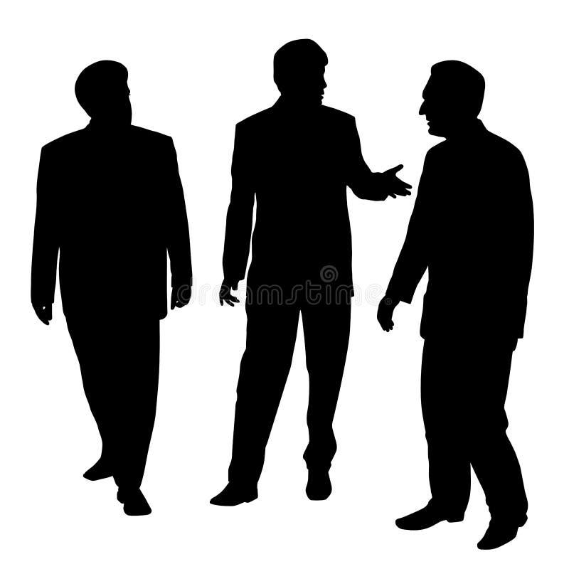 Группа в составе 3 бизнесмена идя и говоря бесплатная иллюстрация