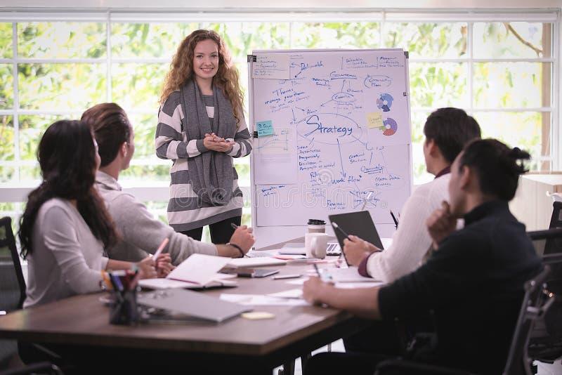Группа в составе бизнесмены разнообразия работая совместно коллективно обсуждать внутри стоковая фотография rf