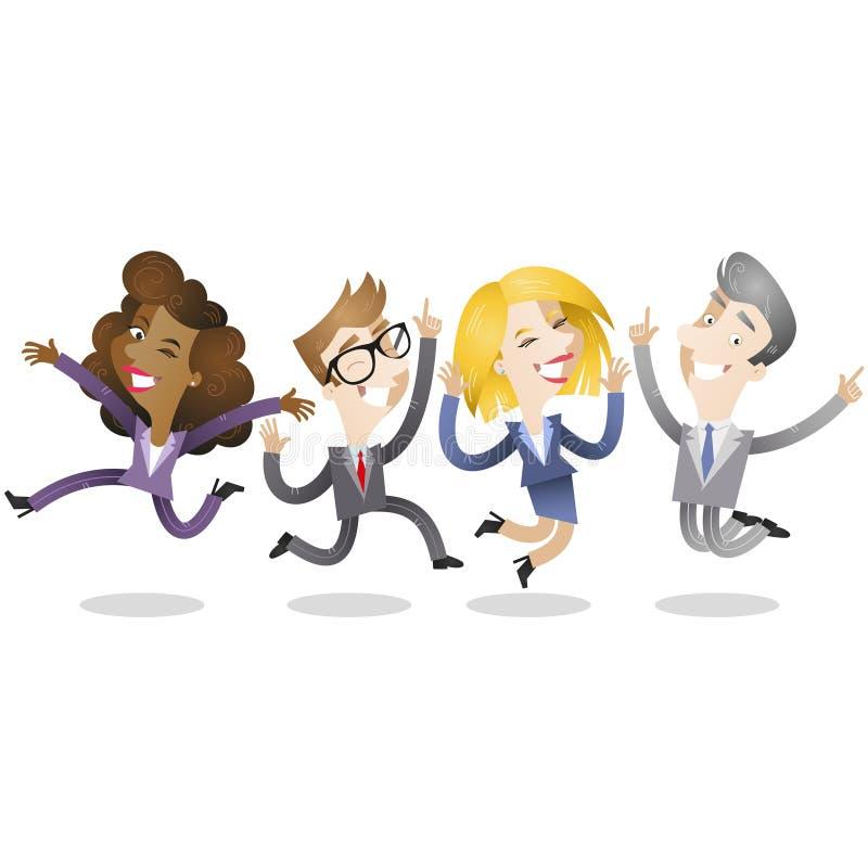 Группа в составе бизнесмены скача и усмехаясь бесплатная иллюстрация