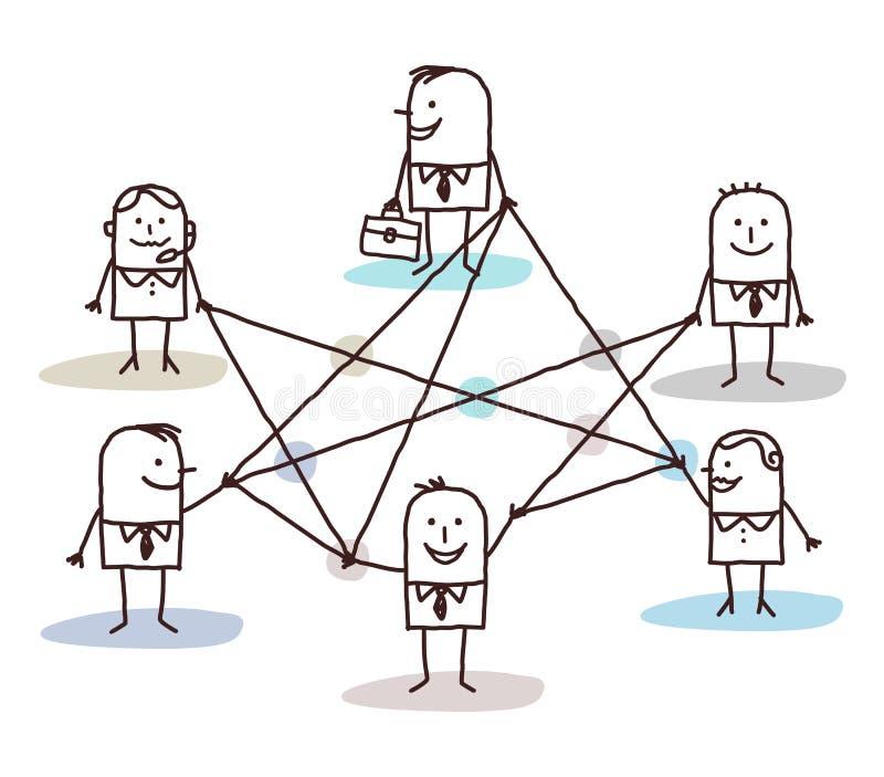 Группа в составе бизнесмены соединенные линиями иллюстрация вектора
