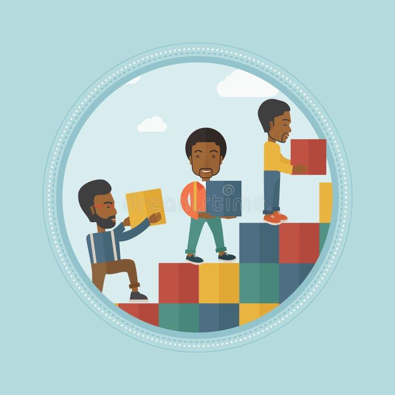 Группа в составе бизнесмены строя лестницу карьеры иллюстрация вектора