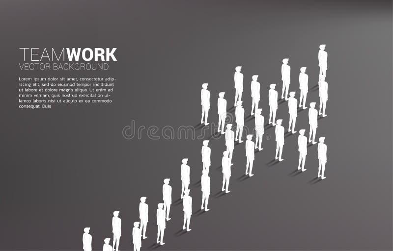 Группа в составе бизнесмен стоя совместно стрелка формы концепция дела для миссии компании и сыгранности иллюстрация штока