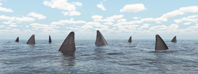 Группа в составе большие белые акулы иллюстрация вектора