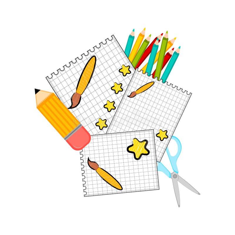 Группа в составе бумаги и школьные принадлежности иллюстрация штока
