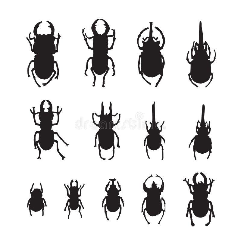 Группа в составе вектора насекомые на белой предпосылке иллюстрация вектора