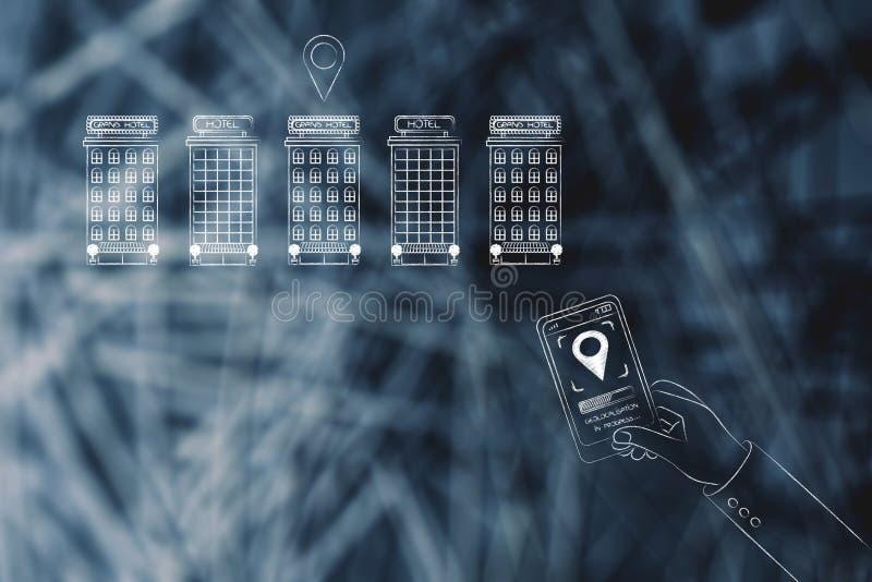 Группа в составе гостиницы и smartphone с значком gps на экране иллюстрация вектора