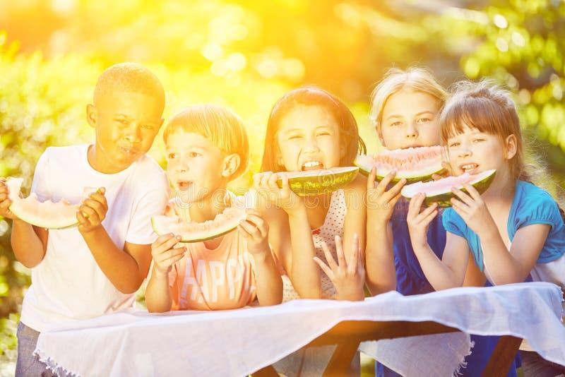 Группа в составе дети есть плодоовощ в лете стоковые изображения rf