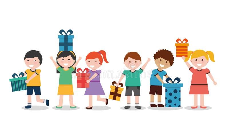 Группа в составе дети с славно обернутыми подарочными коробками иллюстрация вектора