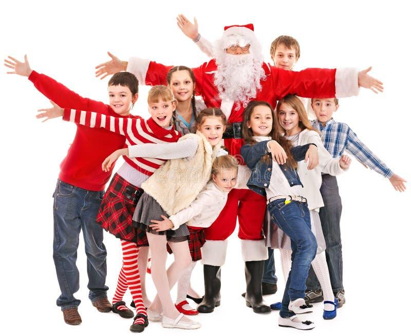Группа в составе дети с Santa Claus. стоковая фотография
