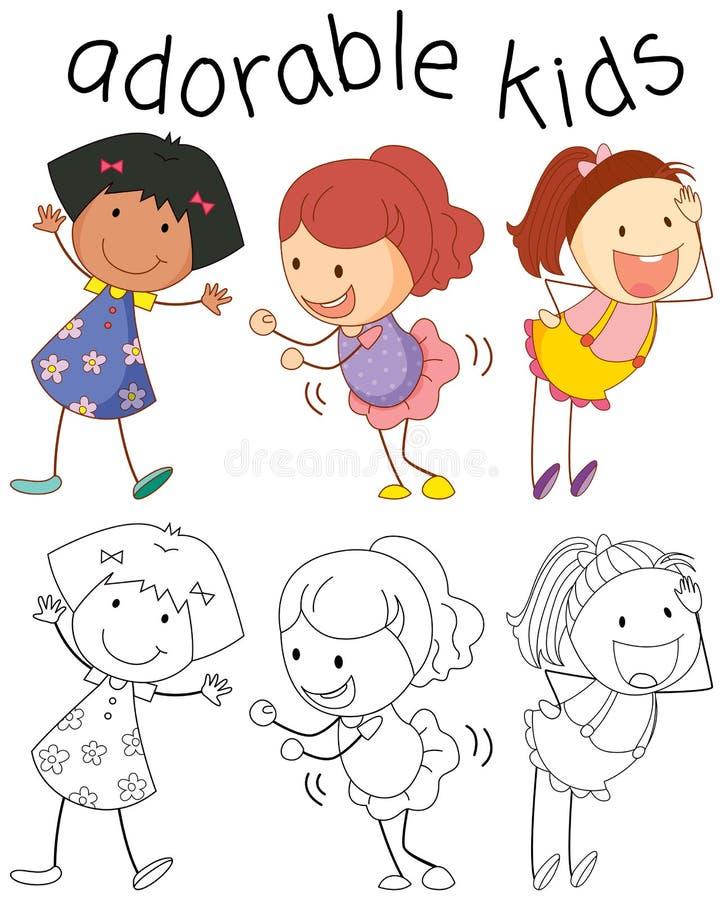 Группа в составе дети doodle прелестные бесплатная иллюстрация