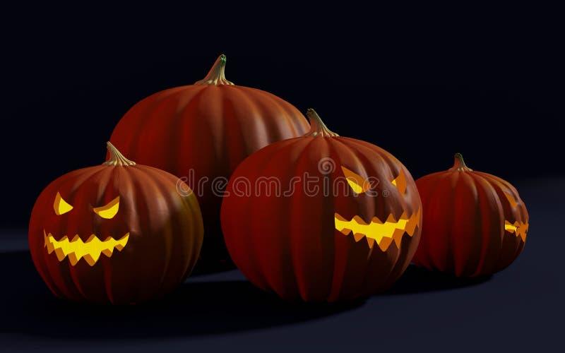 Группа в составе Джек-o-фонарики хеллоуина и гигантская тыква иллюстрация вектора