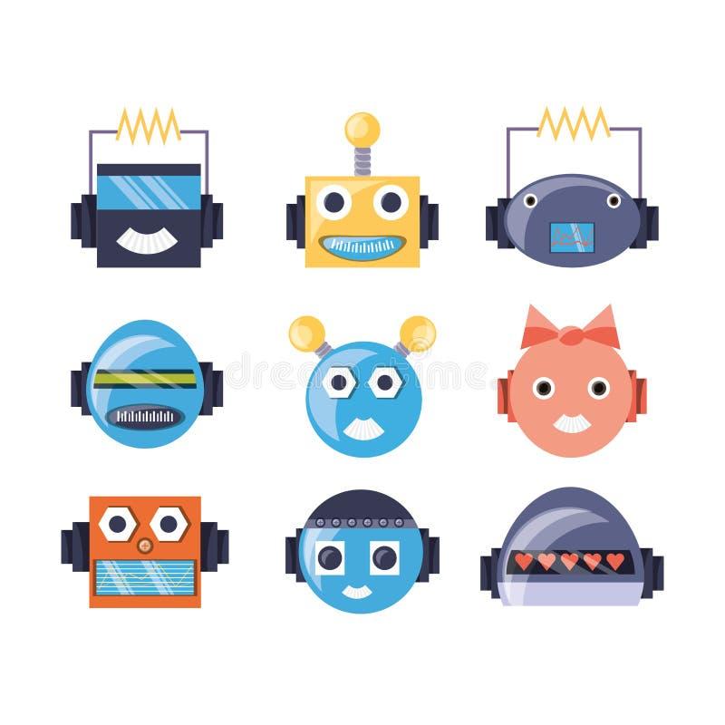 Группа в составе дизайн шаржа робота бесплатная иллюстрация