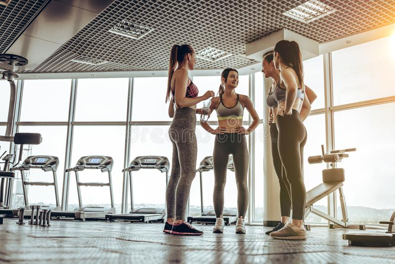Группа в составе друзья говоря в фитнес-центре после трудного тренируя дня стоковые изображения rf