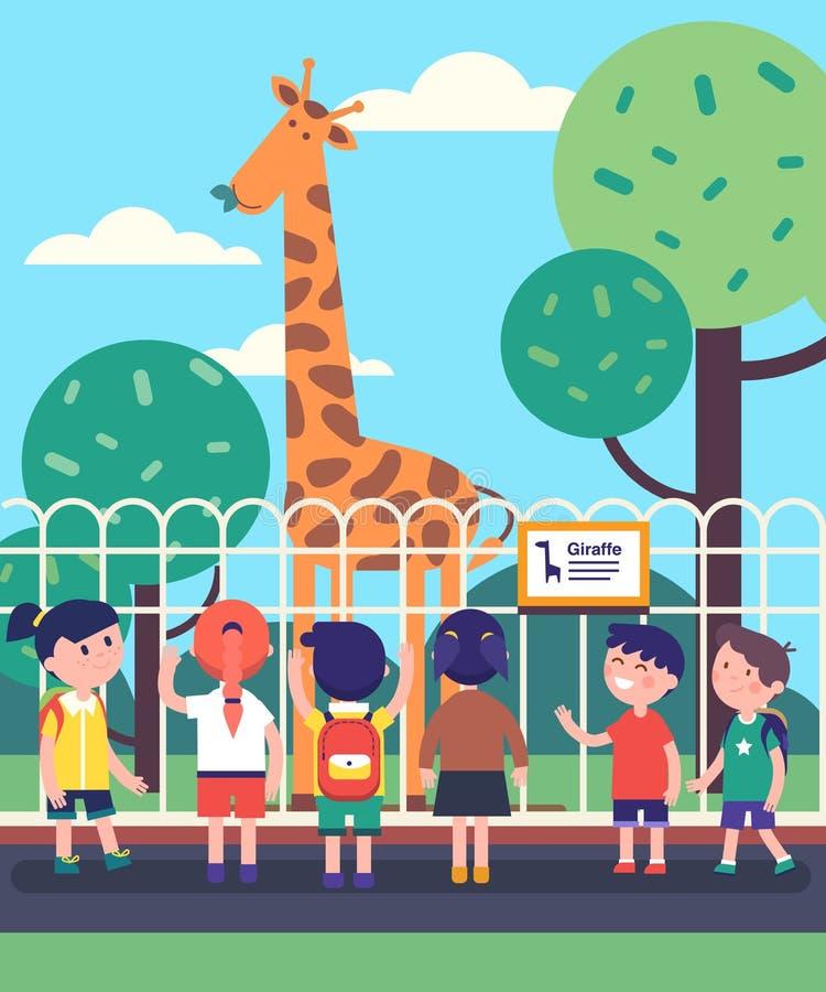 Группа в составе дети наблюдая жирафа на отклонении зоопарка бесплатная иллюстрация