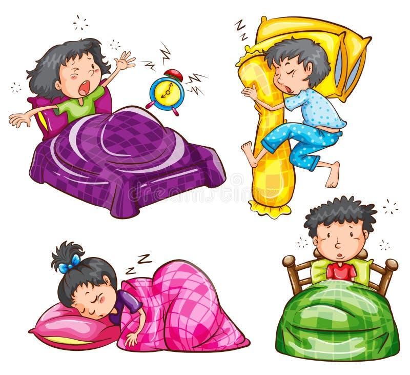 Группа в составе дети на спальне иллюстрация вектора