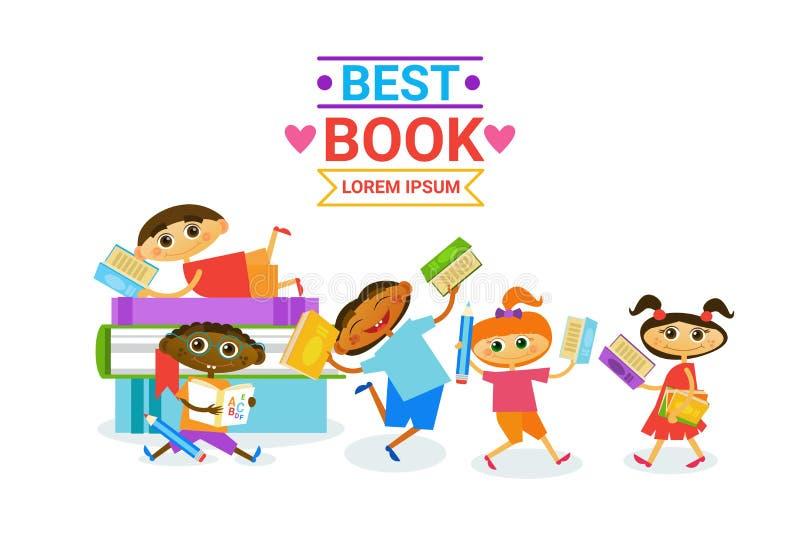 Группа в составе дети с книгами читая усмехаться милых детей счастливый иллюстрация вектора