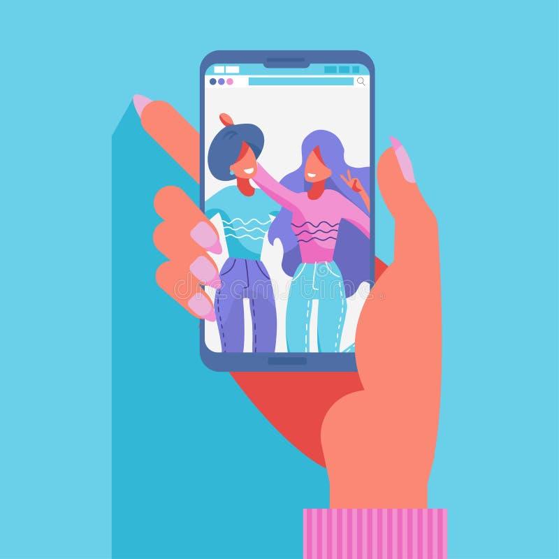 Группа в составе 2 женских друз принимая фото со смартфоном Принимать selfie r Современное плоской руки вектора вычерченное иллюстрация вектора
