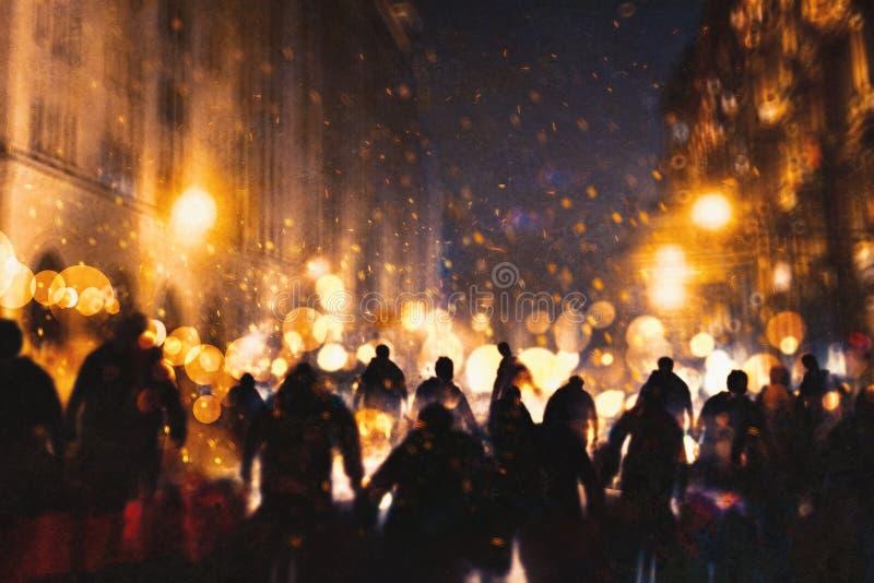 Группа в составе зомби идя через горящий город иллюстрация вектора
