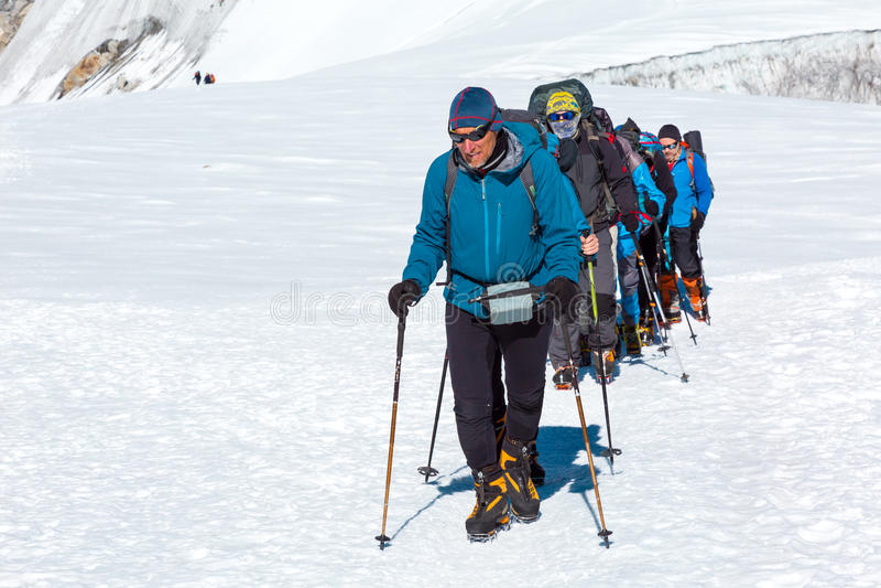 Группа в составе зрелого гида ведущая альпинисты на леднике стоковая фотография rf