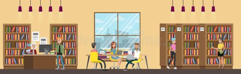 Группа в составе исследование студентов в библиотеке бесплатная иллюстрация