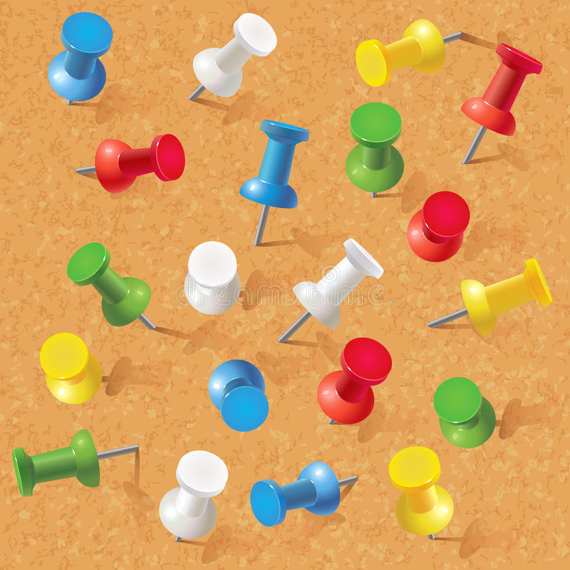 Группа в составе канцелярские кнопки прикалыванные на corkboard иллюстрация вектора