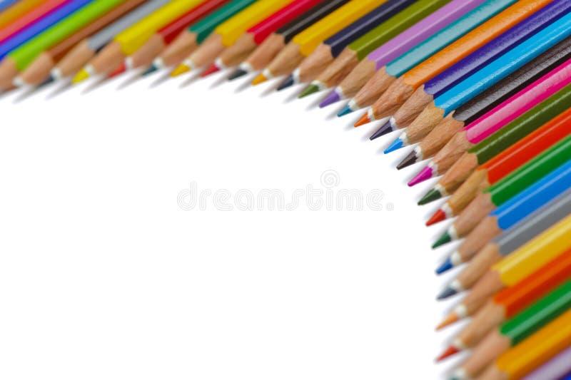 Группа в составе карандаш с цветом показывает диаграмму стоковое изображение rf