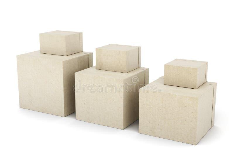 Группа в составе картонные коробки на белой предпосылке 3d представляют иллюстрация вектора